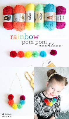 Rainbow pom pom necklace!  Perfect for St Patrick's Day or any day really!  My Sister's Suitcase #diy #stpatricksday