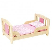 Doll's bed with soft mattress, pillow and cotton sheet. Give dolly a rest and all of her friends in this gorgeous wooden doll's bed! Ages years x 53 x cm x x 10 in Doll High Chair, Old Fashioned Toys, Wooden Cradle, Rock Bed, Organic Baby Toys, Dolls Prams, Baby Room Design, Doll Beds, Cotton Sheets