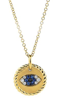 Cable Collectibles charm necklace in 18k gold with sapphires and black and white diamonds; $800; David Yurman; 212-752-4255; davidyurman.com