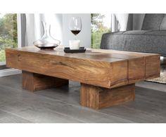 Makassar Drewniany Stolik Kawowy Ława Drewno Palisander lakier półmat 120x45x30cm - 1
