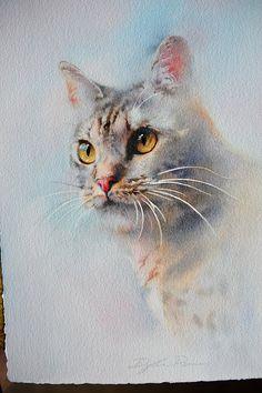 Résultat d'images pour Dylan Pierce Watercolors Animals Watercolor, Watercolor Cat, Watercolor Artists, Watercolor Paintings, Watercolours, Simple Watercolor, Cat Drawing, Painting & Drawing, Animal Paintings