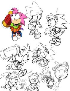 Illustrations and etc. by Tyson Hesse (Some Sonic practice sketches) Sonic And Amy, Sonic And Shadow, Sonic Fan Art, Sonic The Hedgehog, How To Draw Sonic, Classic Sonic, Sonic Mania, Sonic Franchise, Amy Rose