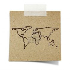 Hand Draw World Map On Note Taped Recycle Paper Royalty Free Stock Photo, Pictures, Images And Stock Photography. Image 17299361.