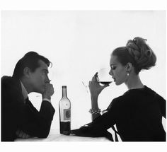 Published April 1962 in Vogue, by Bert Stern, Model Monique Chevalier wearing Bersoie organza dress, sharing a bottle of Chateau Lafite-Rothschild wine with Italian actor Walter Chiari Bert Stern, Art Du Vin, Wine Gadgets, Gadgets Shop, O Ritual, Wine Art, Spring Landscape, Winter Scenery, Classic Hollywood