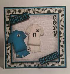 Football birthday card using Lea'bilities sports kit die