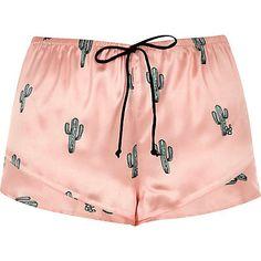 Shop for Womens Pink cactus print pajama shorts by River Island at ShopStyle. Satin Sleepwear, Satin Pyjama Set, Satin Pajamas, Pajama Set, Nightwear, Pajamas For Teens, Cute Pajamas, Pijamas Women, Outfit Summer