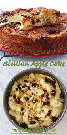 Sicilian Apple Cake The apples melt into the batter creating an almost custard like filling, and the raisins become all 'jammy' and sweet. The pine nuts add a little crunch all the way through Apple Cake Recipes, Baking Recipes, Dessert Recipes, Apple Cakes, Easy Apple Cake, Cookie Recipes, Mini Desserts, Just Desserts, Food Cakes