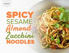 Quell cravings for unhealthy takeout with these veggie noodles smothered in sesame-almond sauce. Cookbook Recipes, Raw Food Recipes, Veggie Recipes, Asian Recipes, Vegetarian Recipes, Cooking Recipes, Healthy Recipes, Ethnic Recipes, Paleo Ideas