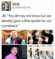 I will never forget Youngjae's spoiler of Fly 😂 Mark Jackson, Got7 Jackson, Jackson Wang, Yugyeom, Youngjae, Got7 Funny, Got7 Members, Asian Love, Jaebum