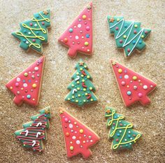 Christmas Eve Appetizers, Christmas Deserts, Christmas Tree Cookies, Xmas Cookies, Iced Cookies, Christmas Cupcakes, Cute Cookies, Christmas Goodies, Cupcake Cookies