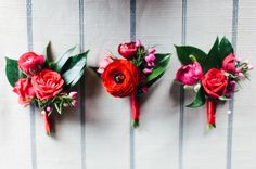 red rose and ranunculus boutonnieres by Katy Bohls of Without Wax, Katy