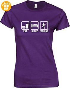 Eat Sleep Fencing, Gedruckt Frauen T-Shirt - Lila/Weiß 2XL = 98-102cm (*Partner-Link)