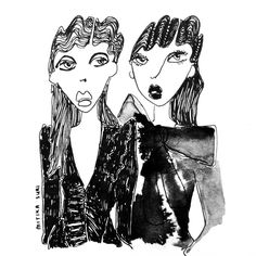 « Caught these two on the @marcjacobs snapchat.  @themarcjacobs  #highfashion #art #instaart #fashionillustration #fashion #blackandwhite #ink #draw#ing… »