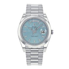 Rolex Day-Date President 228206 Iblsp Ice Blue Dial Platinum Automatic Men's Watch Days Of The Week Display, Day Date President, Swiss Automatic Watches, Buy Rolex, Rolex Day Date, Rolex Watches For Men, Casio Watch, Blue