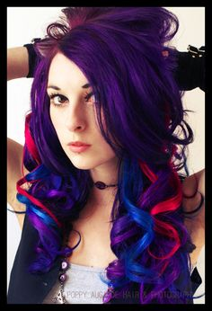 Purple hair with blue and red streaks