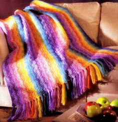 Rainbow Afghan Pattern. This looks great for beginners or if you want a simple pattern.