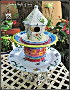 Birdhouse Garden Totem / Centerpiece / by GardenWhimsiesByMary, $45.00 by tiffany