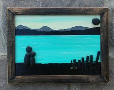 "Pebble Art Couple in Siloquette by the Lake or Ocean set in an ""open"" rustic 5x7 wood frame FREE SHIPPING"
