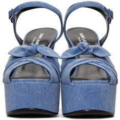 Saint Laurent Blue Denim Candy Bow Sandals ($545) ❤ liked on Polyvore featuring shoes, sandals, adjustable sandals, platform sandals, platform shoes, blue block heel sandals and bow sandals