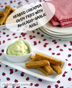 """These vegan and grain-free Herbed Chickpea """"Fries"""" with Avocado-Garlic Aioli are a great alternative to potato-based fries! Vegan Appetizers, Vegan Snacks, Dairy Free Recipes, Vegan Recipes, Gluten Free, Chickpea Fries, Candida Diet Recipes, Plant Based Snacks, Garlic Aioli"""