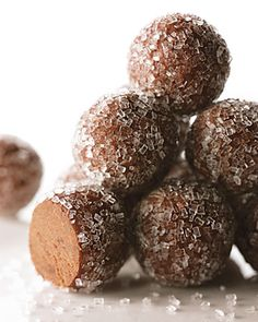 Rum Balls - Martha Stewart  classic.  I rolled these in a powdered sugar/cocoa mixture.  Made them way richer.   I use about 1/4 sugar to 3/4 cocoa