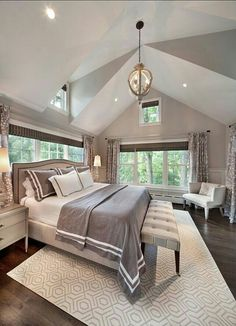 Don't bury those amazing architectural details, enhance them with simple decor choices and a palette that will compliment those elements. While this master suite chose grey-neutrals, vibrant colors can accomplish the same thing if selected with care.