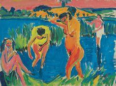 "Ernst Ludwig Kirchner, ""Quatre baigneuses"", 1910"
