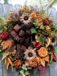"""AUTUMN SAFARI"" TUSCAN, OLD WORLD, FRENCH COUNTRY, FALL, LEOPARD, DOOR WREATH"