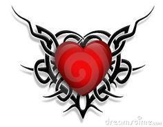 Tatouage graphique de coeur de conception tribal