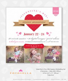 Valentine's Day Mini Session Photographer Marketing Template  by FOTOVELLA    Photography Marketing Boards - Includes web template 900x900 px for Facebook, blog and email newsletter - BONUS print template 8.5x11 for fliers, client mailings and mini posters    Designer Photoshop Templates for Pro Photographers