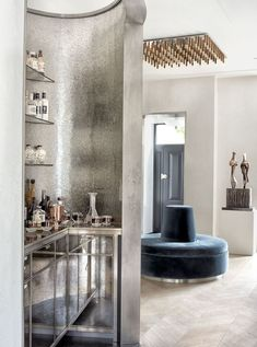 """If you've turned to drink to muddle through what remains of 2020, you're among friends. """"We're seeing clients make space for a home bar even if one didn't exist before,"""" says Dallas designer Jean Liu, whose friend stuck one in a coat closet as COVID-19 descended. #bar #homebar #home #interiordesign #luxury #decor #interiors #design #wallpaper #furniture #elledecor Victorian Townhouse, London Townhouse, Townhouse Designs, Upstairs Bedroom, Stone Flooring, Elle Decor, Bars For Home, Family Room, Tea Lounge"""