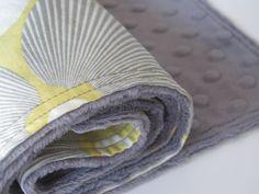 Grey  Minky Baby Blanket Amy Butler Optic by ButterBrickleBaby, $32.00