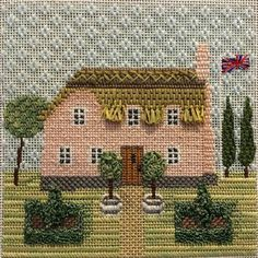 Thanks Patricia Sone for sharing your amazing stitching on the Little Britain- Thatched Roof Home needlepoint canvas from Kirk & Bradley