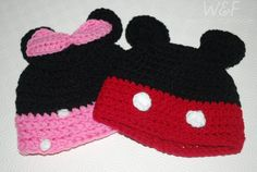 Mickey and Minnie inspired hats for babies