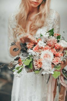 """Free Form"" Wedding Bouquet: Blush English Garden Roses, Peach Roses, Peach Zinnias, Peach Berries, Blushing Bride Protea, White Scabiosa, Additional Coordinating Florals & Foliage"