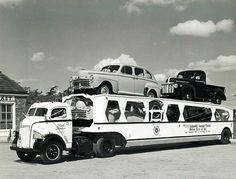 Old car carrier www.TravisBarlow.com - Insurance for towing and auto transporters for over 30 years