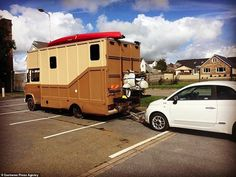 Former surveyor Guy Williams spends converting a wrecked horse box into a plush 'log cabin van' Motorhome Conversions, M Benz, Cockapoo Puppies, Travel Around Europe, Horse Trailers, House On Wheels, Back In The Day, Van Life, Recreational Vehicles