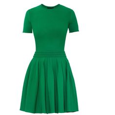 Alexander McQueen Stretch-knit dress ($940) ❤ liked on Polyvore featuring dresses, green, alexander mcqueen, special occasion dresses, cocktail dresses, short sleeve skater dress and short sleeve evening dress