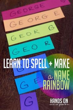 Preschoolers love everything about their name! This is a fun activity to learn to spell your name plus they get to make a colorful rainbow in the process! Learning Through Play, Fun Learning, Learning Activities, Early Learning, Cooperative Learning, Preschool Learning, Educational Activities, Name Activities Preschool, Activities For Kids