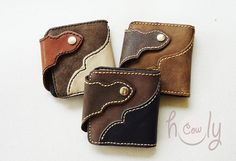Beautiful Handmade Leather Wallets by HolyCowproducts on Etsy, $32.00