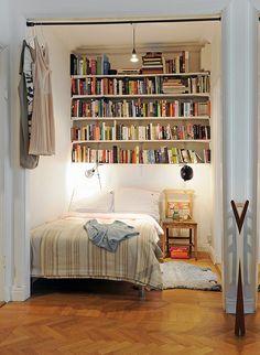 But i love books! bedroom nook, home bedroom, bedroom bookcase, bed nook Bed Nook, Bedroom Nook, Bedroom Ideas, Bedroom Decor, Library Bedroom, Master Bedroom, Closet Library, Student Bedroom, Narrow Bedroom