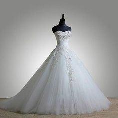 Strapless Sweetheart Wedding Dress Bridal gown Applique lace A-Line ball skirt