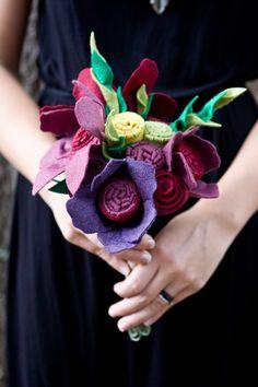 (Color combo)Wildflower Wedding Bouquet - Felt Flowers - Alternative Wedding Flowers - Custom - Purples and Red - on Etsy, $90.00