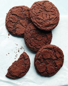 Mexican Hot-Chocolate Cookies - I cut the sugar in the cookie dough by a 1/2 c, put all the spices into the dough , added 1 teaspoon of vanilla.  they were great!  I'll probably cook them about 1 min less next time.