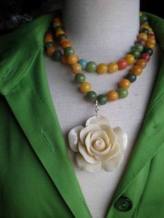 Rose Necklace / Pendant / Jade / Multi Strand - Last Rose Of Summer