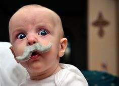 He seems to be as shocked as the rest of us, lol (kiddies playing with press on moustaches)