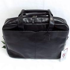 Quindici Leather 1 Compartment Laptop Briefcase Bag Black or Brown Veg Tan QVB 507