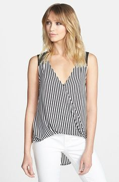 ASTR Stripe High/Low Surplice Tank available at #Nordstrom