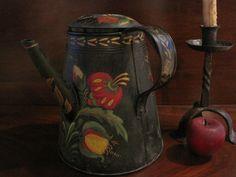 Antique 1800s Large Folk Art Tin Toleware Paint Decorated Side Spout Coffee Pot | eBay
