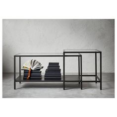 IKEA - VITTSJÖ Nesting tables, set of 2 black-brown, glass - Products - Living Room Table Table For Small Space, Small Spaces, Ikea Living Room, Living Spaces, Ikea Nesting Tables, Ikea Vittsjo, Cool Coffee Tables, Family Room, Furniture